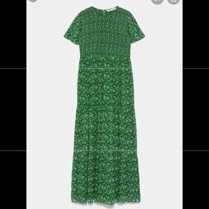 Zara green floral print dress